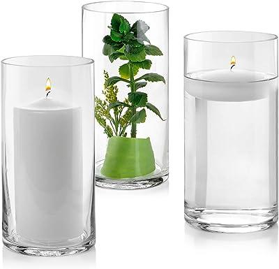 高さ8インチ ガラスシリンダー花瓶3個セット – 多目的:ピラーキャンドル、フローティングキャンドルホルダーまたはフラワー花瓶 – 結婚式のセンターピースとして最適です。 (クリア)