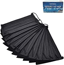 Disposable Face Mask - Carly Shop 50 Pcs Disposable Face Masks Breathable Dust Filter Masks Mouth Cover Masks with Elastic Ear Loop (Black)