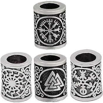Lurrose - Cuentas de runa vikinga sueltas cuentas de bronce antiguo, para joyas, accesorios para el cabello, 15 piezas (estilos aleatorios)