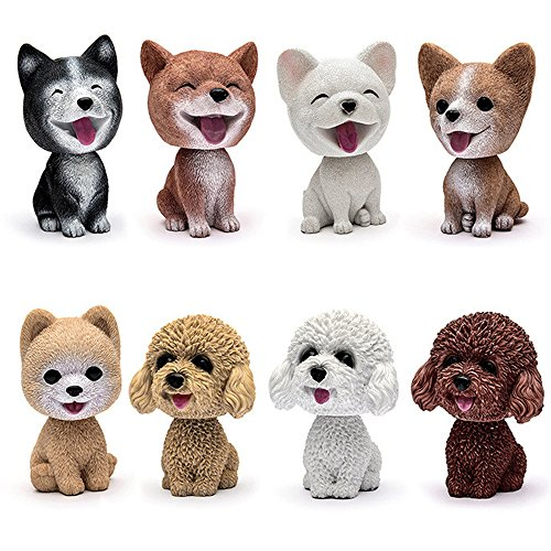 Comidox Handmade childhood memory BobbleHead Dogs Car Dash Puppy for Car Vehicle decoration rocking head dog made by superior Natural Resin French bulldog 1pc