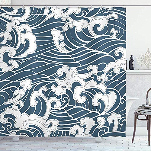 abby-shop Japanische Welle Duschvorhang, handgezeichnete traditionelle Art Aquatic Doodle River Storm Retro Abstract, Schieferblau