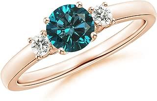 Round Enhanced Blue & White Diamond Past Present Future Ring (5.5mm Enhanced Blue Diamond)