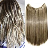 20'(50cm) Extensiones de Cabello Natural con Hilo Invisible Sin Clip Pelo Sintético Se Ve Natural...