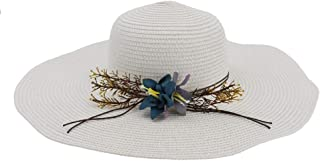 Lady's Sun hat Summer Chaff Hat Ladies Big Wing Broad Beach Sun Hat Panama Hat Outdoor Leisure Sun hat (Color : White, Size : 56-58CM)