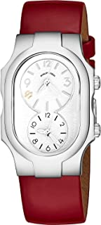 Signature Womens Natural Frequency Technology Watch - Classic White Face Dual Time Zone Ladies Watch - Shiny Red Leather Band Analog Quartz Stainless Steel Fashion Watches for Women