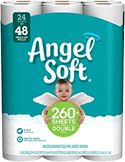 Angel Soft Toilet Paper, 24 Double Rolls, 24 = 48 Regular Bath Tissue Rolls