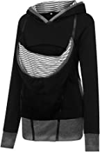 Women Maternity Striped Baby Pouch Carrier Hoodie Kangaroo Zipper Pregnancy Coat-SUNSEE 2019 New