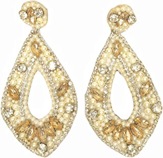 DUCHESS Crystal Embroidered Long Cloth/Fabric Earrings