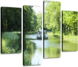 boat in river Canvas Print Artwork Wall Art Pictures Framed Digital Print Abstract Painting Room Home Office Decor Ready to Hang 4 Panel