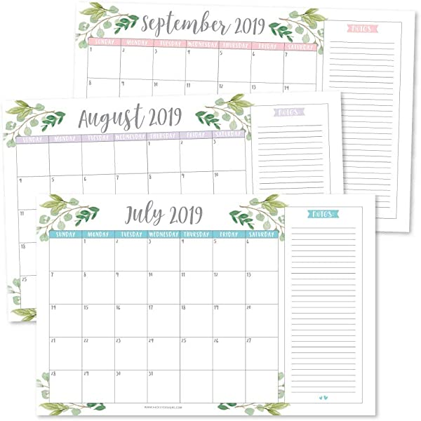 Greenery 2019 2020 Large Monthly Desk Or Wall Calendar Planner Big Giant Planning Blotter Pad 18 Month Academic Desktop Hanging 2 Year Date Notepad Teacher Mom Family Home Business Office 11x17