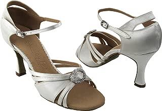 Very Fine Women's Salsa Ballroom Tango Dance Shoes Style SERA1154 Bundle with Plastic Dance Shoe Heel Protectors