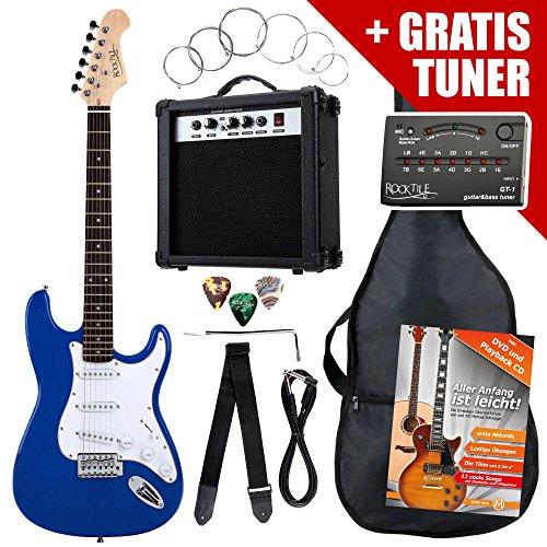 Rocktile ST-Pack Komplettset E-Gitarre Blau (Verstärker, Stimmgerät, Tremolo, Tasche, Kabel, Gurt, Plecs, Ersatzsaiten und Schule mit CD/DVD)