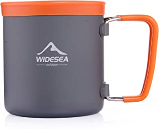 Widesea Camping Aluminum Cup Outdoor Coffee Mug Tourist Picnic Trekking Hiking with Foldable Handle