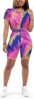 طقم ملابس قصيرة Annystore للنساء - ملابس رياضية غير رسمية من قطعتين بدلة رياضية قصيرة الأكمام مطبوعة توب ضيق سروال قصير