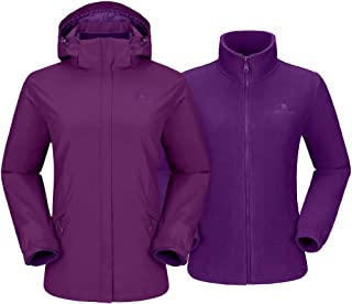 CAMEL CROWN Women's 3 in 1 Waterproof Ski Jacket Windproof Hooded Raincoat