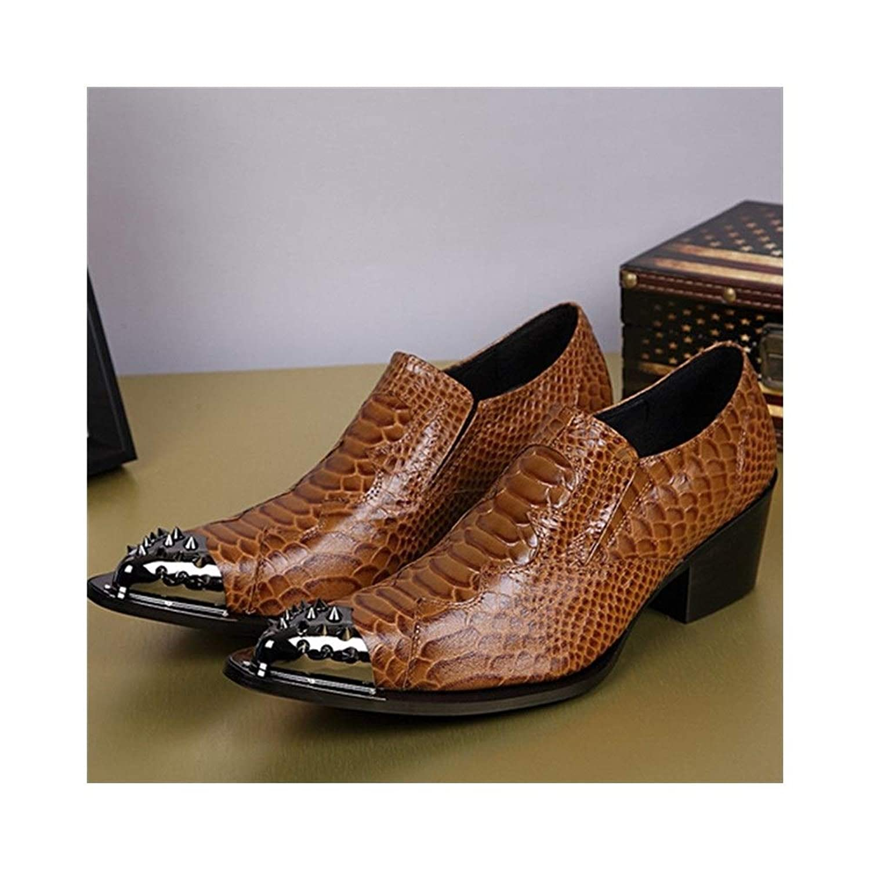 Rui Landed オックスフォード用男性フォーマルシューズスリップオンスタイル高品質本革金属つま先ファインテクスチャーの蛇皮 (Color : 黄, サイズ : 24 CM)