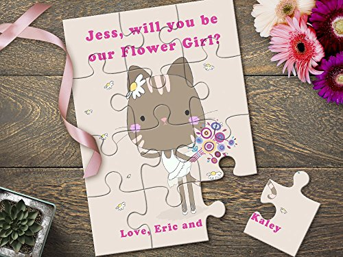 Will You Be My Flower Girl Gift, Flower Girl Puzzles, Flower Girl Proposal, Cute Kitty Cat Puzzle for Flower Girl Proposal Invitation