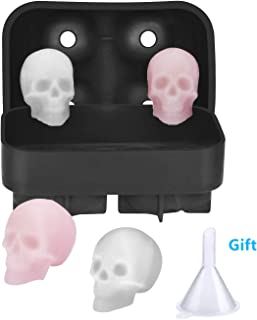 3D Skull Flexible Silicone Ice Cube Mold Trays Helistar Make Four Vivid Giant Skulls, Ice Cube Tray for Whiskey and Cocktails, Reusable and BPA Free (Black)