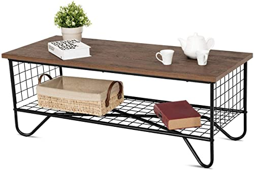 popular Giantex Steel Coffee Table sale Metal Solid Frame, Grid Patten for Living wholesale Room Bedroom Accent Cocktail Sofa Side Table online sale