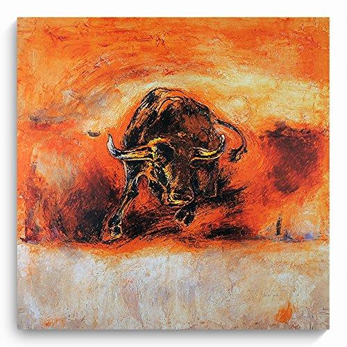 Feeby, Wandbild, Deco Bild, gedrucktes Bild, Deco Panel, Bild, 80x80cm, STIER, ROT, ORANGE, BRAUN