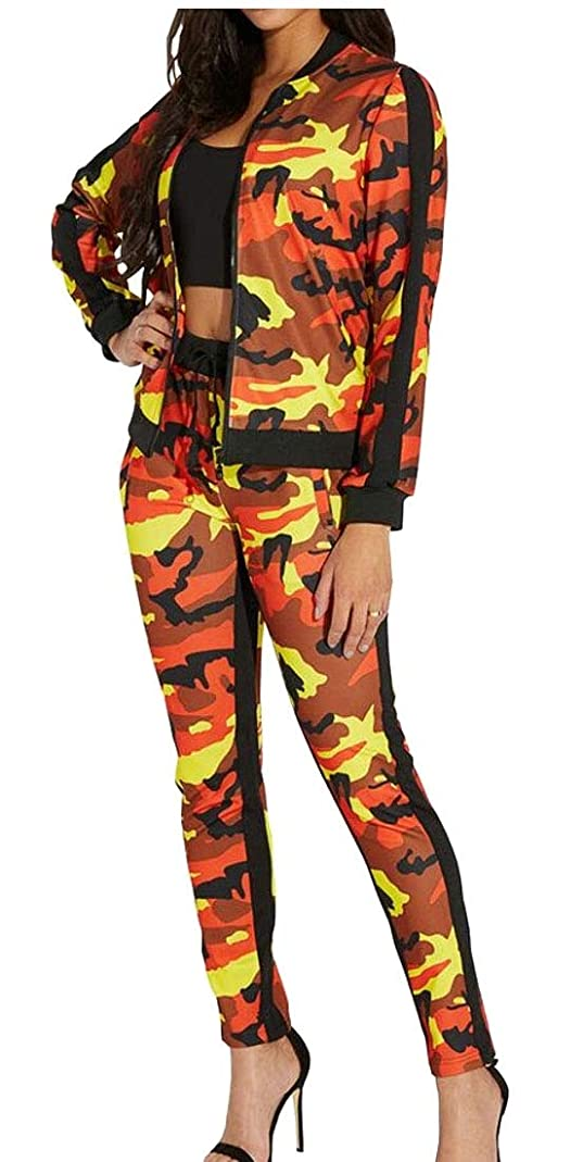 分類航海快適レディース2ピースカモトラックススーツジップジャケットロングパンツセット衣装
