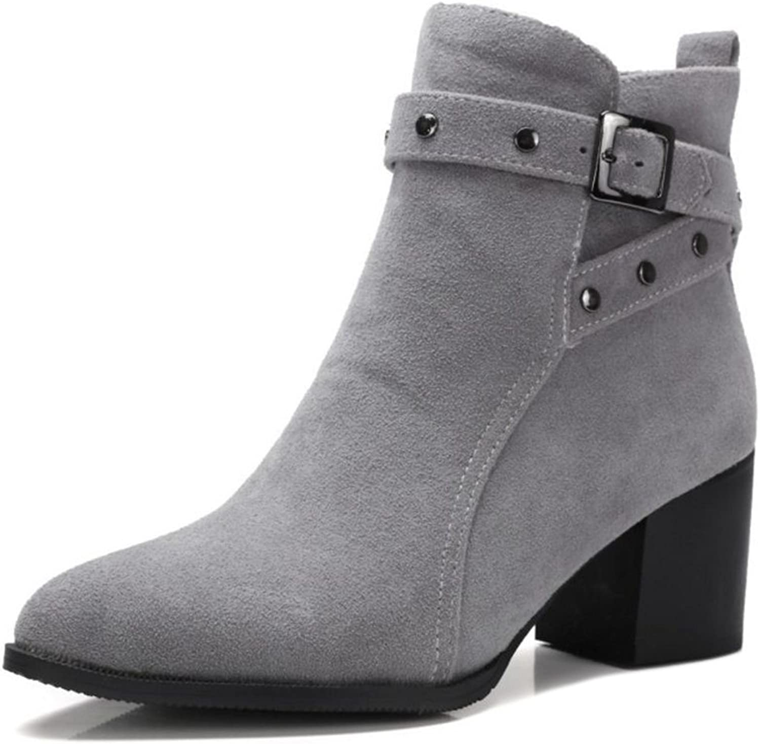 Smilice Large Size & Small Size Boots Women Fashion Pointed Toe Ankle Booties