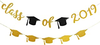 2019 Graduation Party Decorations,Gold Glittery Class of 2019 Banner and Gold Glittery Graduation Cap Garland- Graduation/Grad Party Decorations