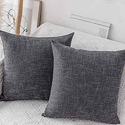 "Kevin Textile Pillow Covers Decorative Throw Pillow Covers Linen Square Cushion Case 26"" x 26""/66cm x 66cm Dark Grey Farmhouse Pillowcase, 2 Pack"