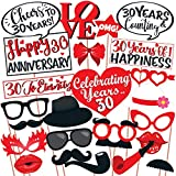 TEMPERPOOF MATERIAL - Made of 320 GSM Art Card Paper, they will accompany you on your every event without fading out colours. PERFECT FOR ANY CROWD - Photo booth props are fun Anniversary Party supplies for every age of adults - everyone will love th...