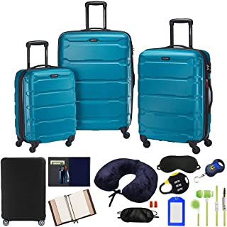 Samsonite 68311-2479 Omni Hardside Luggage Nested Spinner Set 20 Inch, 24 Inch, 28 Inch - Caribbean Blue Bundle w/Deco Gea...