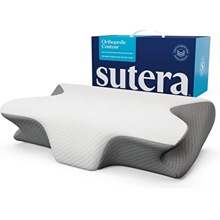 Sutera Dream Deep Memory Foam Pillow for Sleeping, Cervical Pillow for Neck Pain Orthopedic Contour Pillow with Washable Cover, (White/Grey)