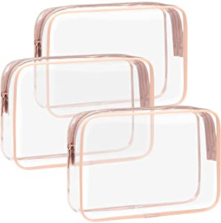 TSA Approved Toiletry Bag - F-color 3 Pack Clear Toiletry Bags - Clear Makeup Cosmetic Bags for Women Men, Quart Size Trav...