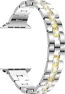 TOWOND Dam diamant iWatch rem rostfritt metall iwatch band kompatibel med serie SE serie 6 5 4 3 2 1