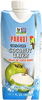 Parrot 100% Pure coconut water 11.10 fl oz 100% Juice Refreshing Coconut Taste Natural Essential Plant Based Non-GMO Elect...