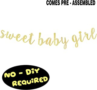 Sweet Baby Girl Gold Glitter Cursive Script Bunting Banner It's a Girl Baby Shower First Birthday Party Decoration Garland Fireplace Table Wall Sign - NO DIY REQUIRED