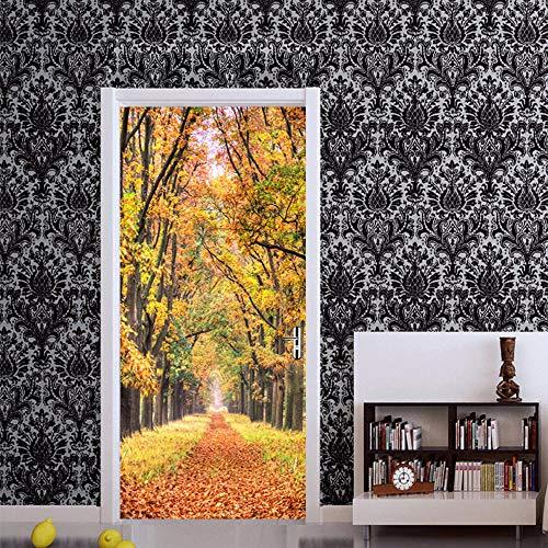 Deurschildering Trap 3D Mooie Herfstbladeren Road Fotobehang Huis Woonkamer Muurschildering Inclusief Plakken, Woondecoratie - Muurstickers, Verwijderbare Waterdichte Vinyl Stickers