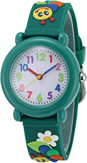 Jewtme Cute Toddler Children Kids Watches Ages 3-7 Analog Time Teacher 3D Silicone Band Cartoon Watch for Little Girls Boys