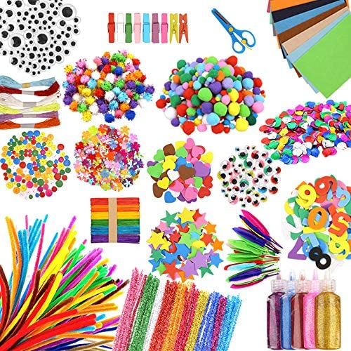 Wocuz 1600 pcs Craft Art Supply Kit for Kids Toddler Crafts Set for Easter DIY Activities School product image