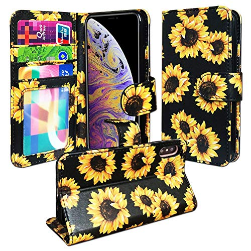 J.west Case for iPhone XR 6.1-inch, Vintage Floral Pattern Magnetic Faux Leather Wallet Case Full Body Heavy Duty Protection Flip Cover with Wrist Strap Kickstand and Card Holder - Sunflower