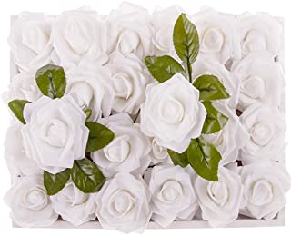 M&A Decor Easter Artificial Flowers 30 PCS Real Touch Fake Roses for DIY Wedding Bridal Bouquet Wreath Table Centerpieces Decoration,White