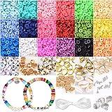 4000+ pcs Juguete de Cuentas Abalorios Pulseras Abalorios para hacer Collares de Arcilla Polimérica Kit pulseras de DIY Hacer Pulseras Manualidad Fabricación de Joyas para Niños Adultas