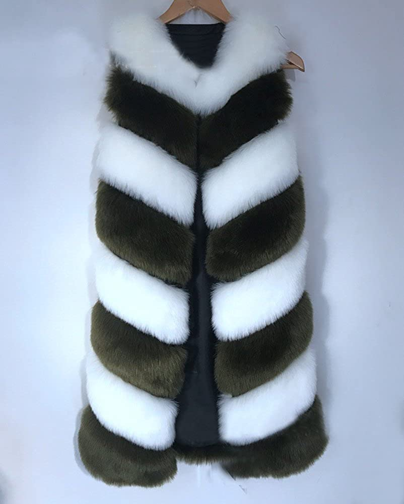 Gladiolus Damen Winter Weste Lange Mäntel Für Kunstpelz Jacke Faux Fellmantel Outwear Parka Armee-grün