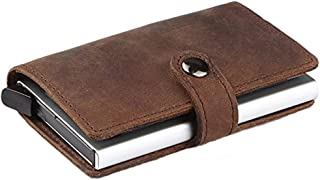 RFID Credit Card Holder Wallet, Slim Genuine Leather Wallet, Small Card Case, Mini Wallet (Brown Genuine Leather)