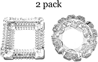 Golden J Store Classic Glass Round Ashtray and Glass Square Ashtray - 2 Pack