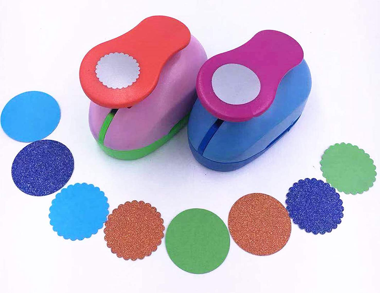 TECH-P Creative Life 2PCS 1 inch Circle+Wave Circle Craft Punch Set Paper Punch Tool Eva Punches for Making Arts Crafts Projects Cards Scrapbooking Garland Hanging Decorations