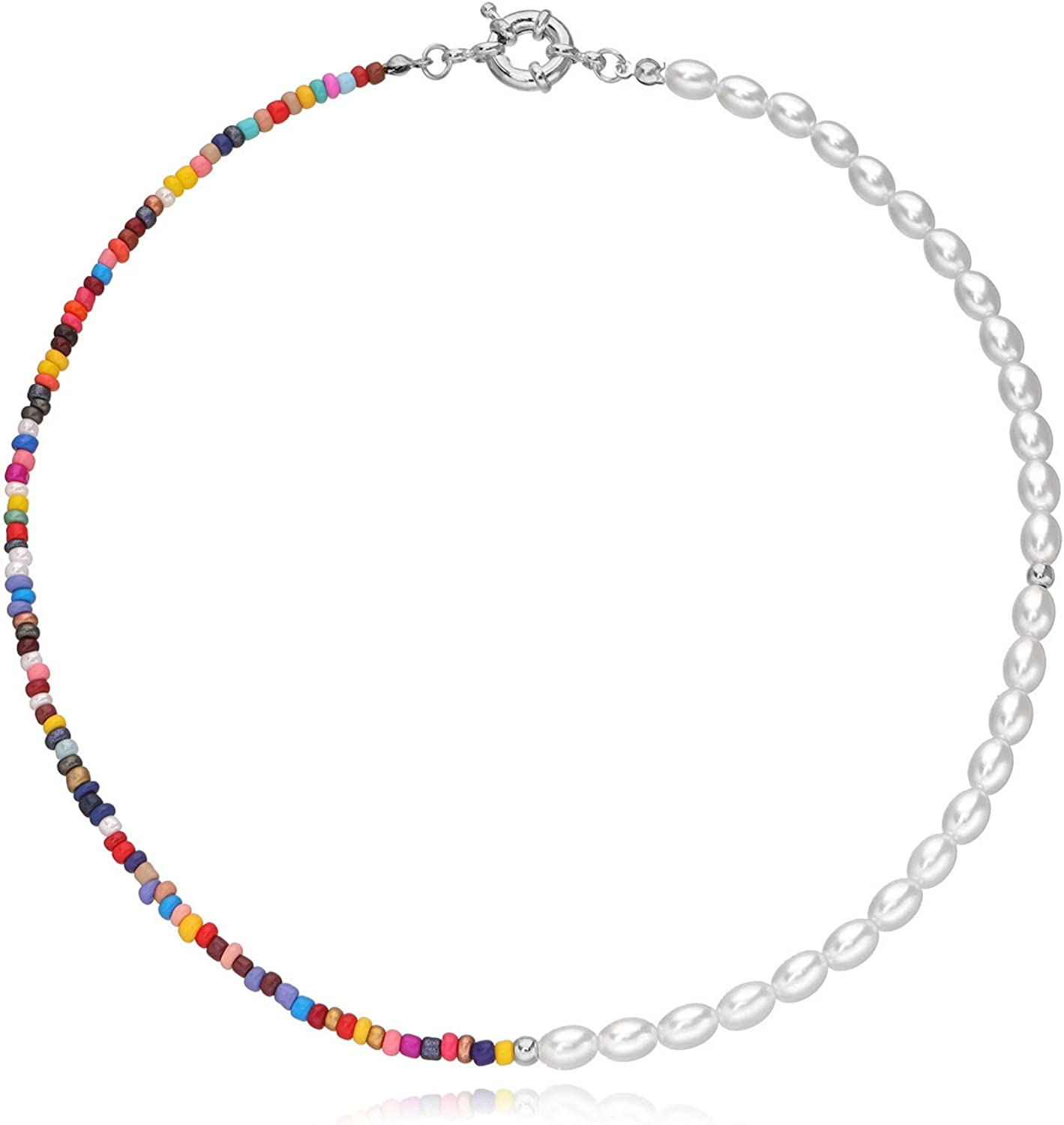 Bead Pearl Choker Necklace for Women Girls Handmade Colorful Seed Beaded Choker for Women Jewelry