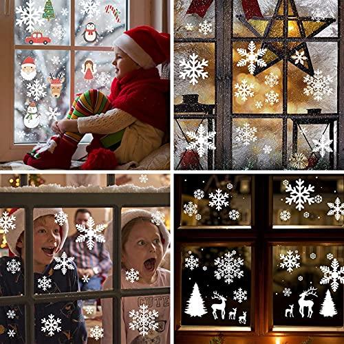 156 Weihnachten Fensterbilder, Schneeflocken Fensterdeko für Fensterscheiben, Wiederverwendbar Statisch Haftend PVC Aufkleber für Fenster Vitrine Türen Schaufenster Winter Schneeflocken Weihnachtsdeko