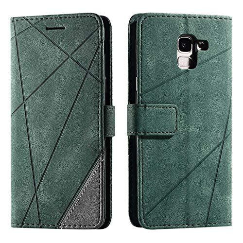 Hülle für Samsung Galaxy J6 2018, SONWO Premium Leder PU Handyhülle Flip Hülle Wallet Silikon Bumper Schutzhülle Klapphülle für Galaxy J6 2018, Grün