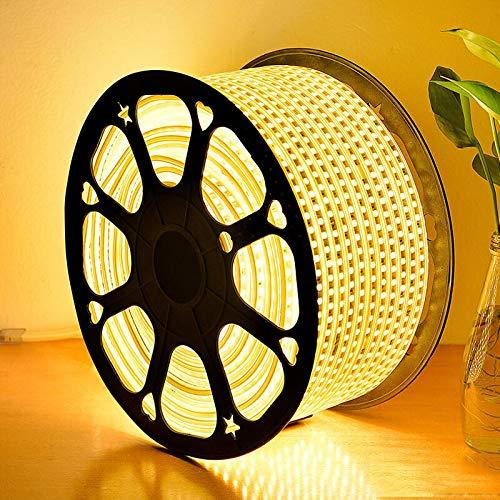 GreenSun LED Lighting LED Stripe SMD 5050 Band LED Streifen LED Lichtleiste LED Bänder Lichterkette Wasserdicht IP65, mit 23 Tasten Fernbedienung RF Controller, Warmweiß, 30m