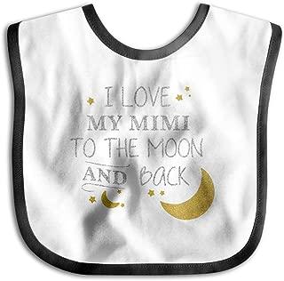 XHX Baby I Love My Mimi To The Moon And Black Saliva Towel Bibs Burp Cloths